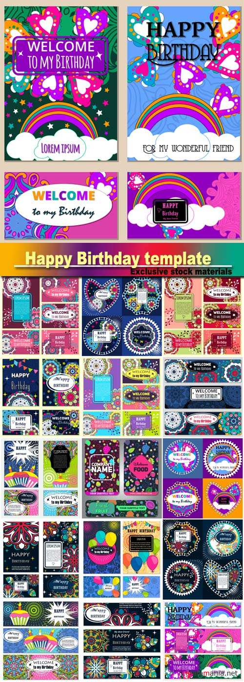 Happy Birthday template and mandala pattern, brochure, gift certificate, party invitation, congratulation