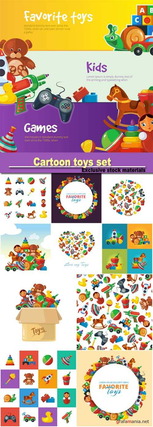 Cartoon toys set for web banners with place for your text