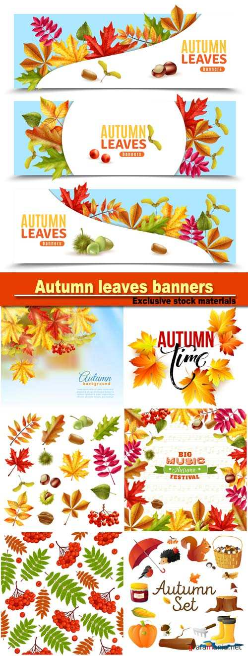 Autumn leaves banners and vector background