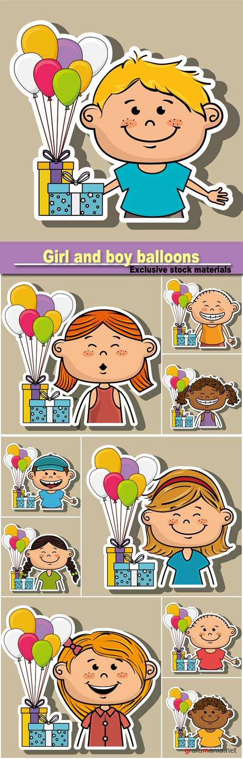 Girl and boy balloons gifts party vector illustration graphic