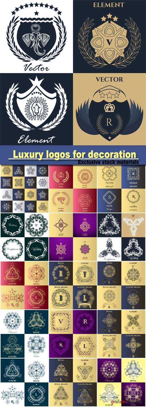 Luxury logos for decoration, victorian style, for boutiques, restaurants, hotel