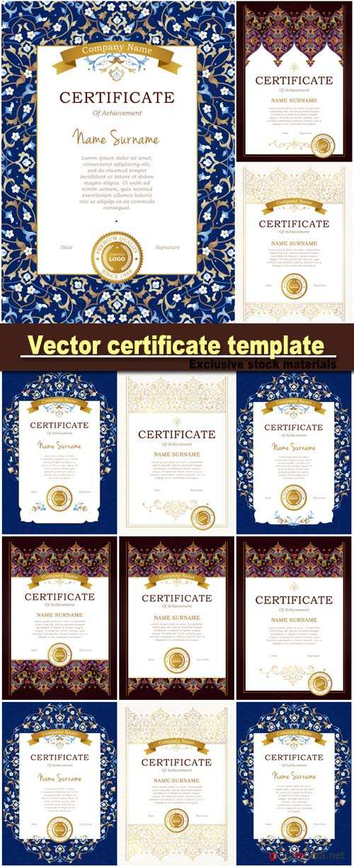 Vector luxury frame in Eastern style, certificate template with golden tracery