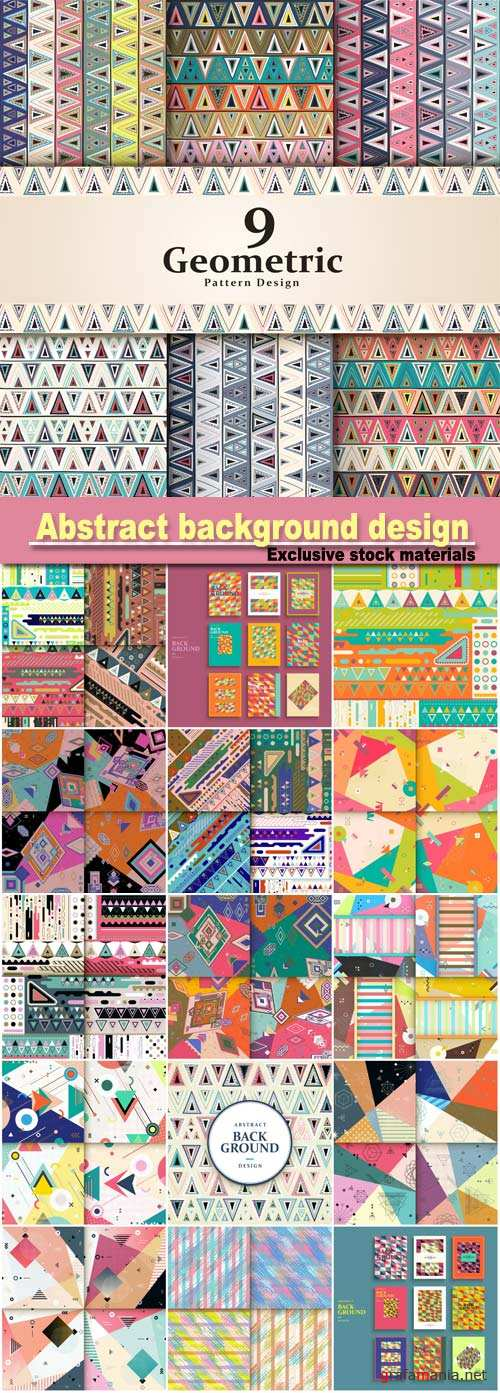 Abstract background design, pattern design set with colorful triangle elements
