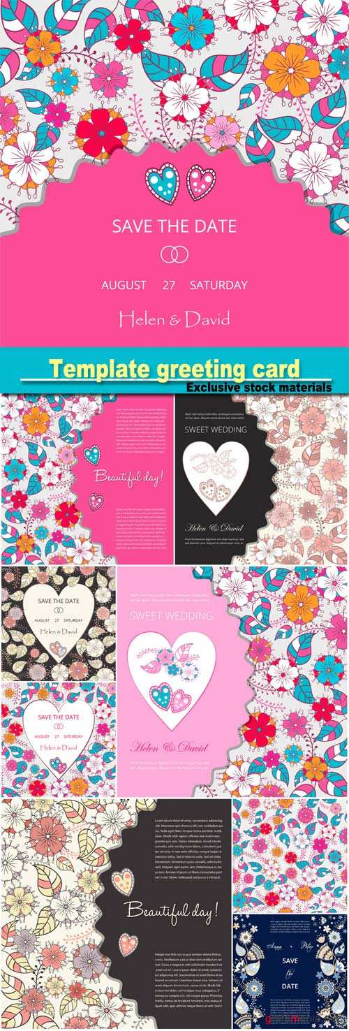 Template greeting card, save the date, made of flowers, herbs