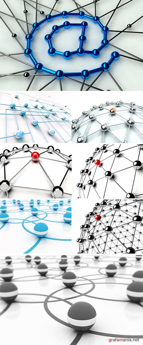 Stock Image 3D image of networking and internet concept isolated in white