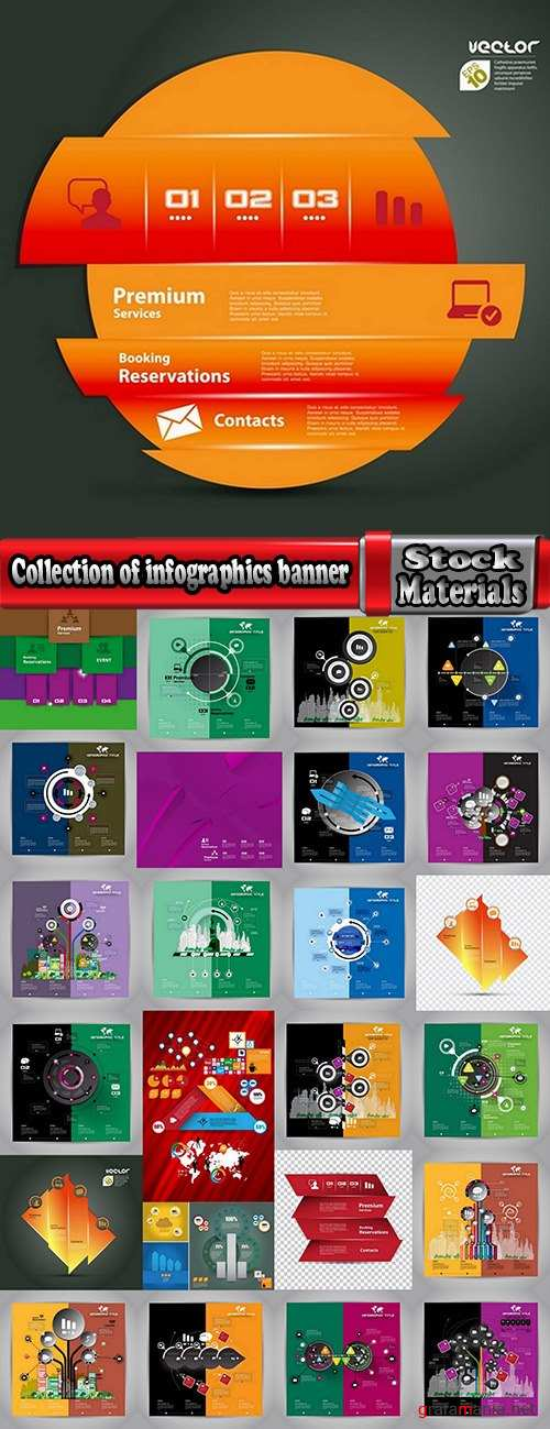 Collection of infographics banner flyer business conceptual vector image 25 EPS