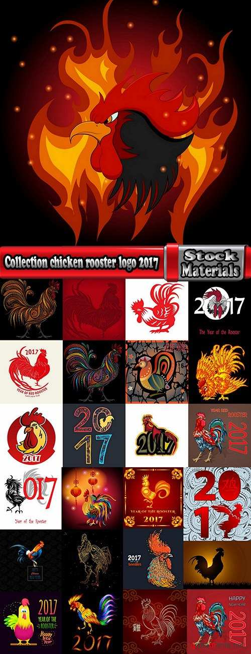 Collection chicken rooster logo 2017 vector image 2-25 EPS