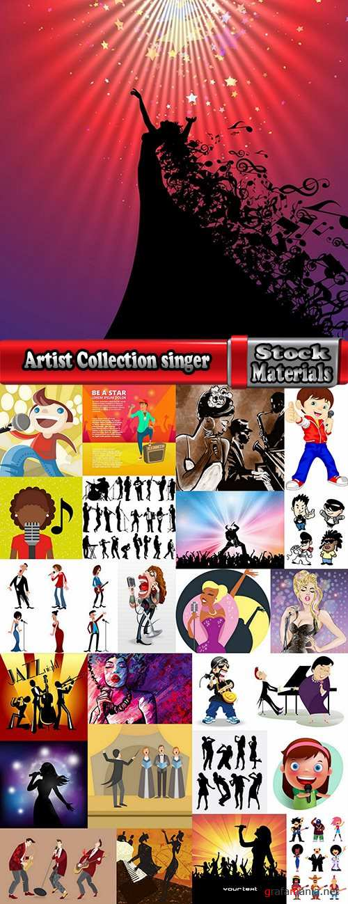 Artist Collection singer soloist song music poster a vector image 25 EPS