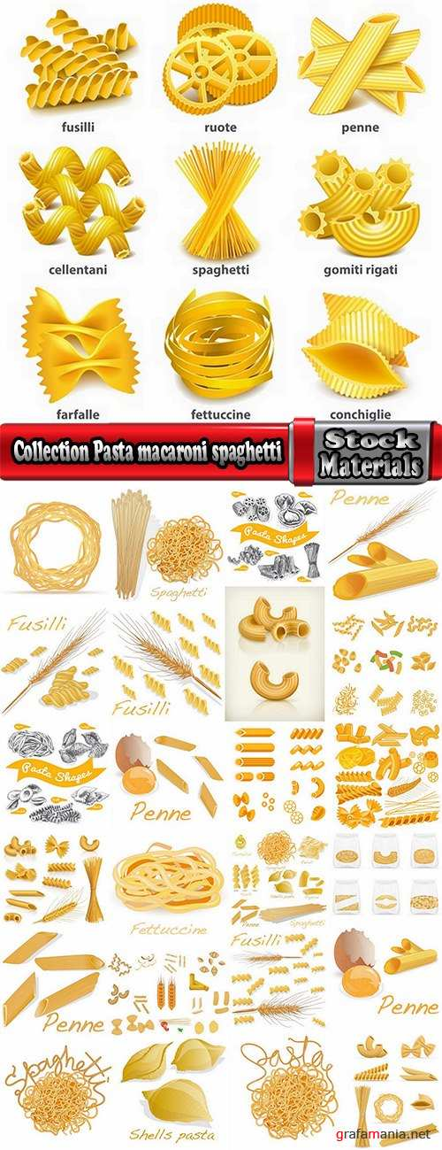 Collection Pasta macaroni spaghetti flour products a vector Image 25 EPS
