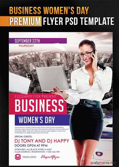 Business Women's Day V5 Flyer PSD Template + Facebook Cover