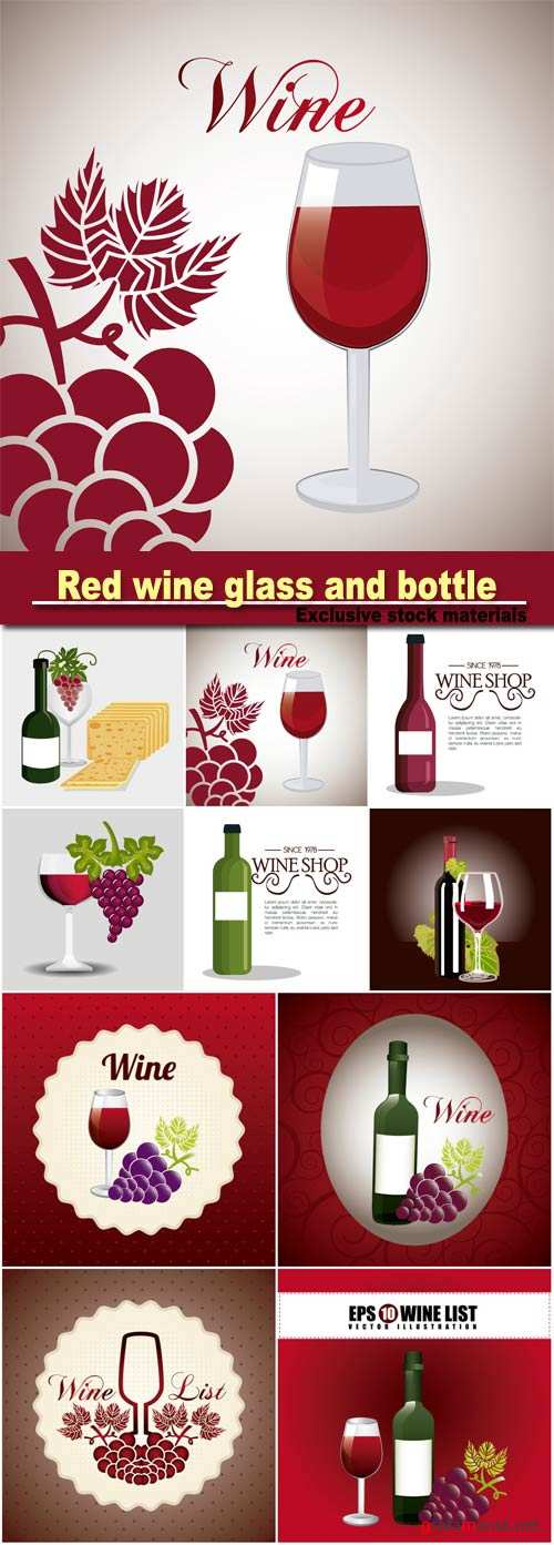Red wine glass and bottle vector