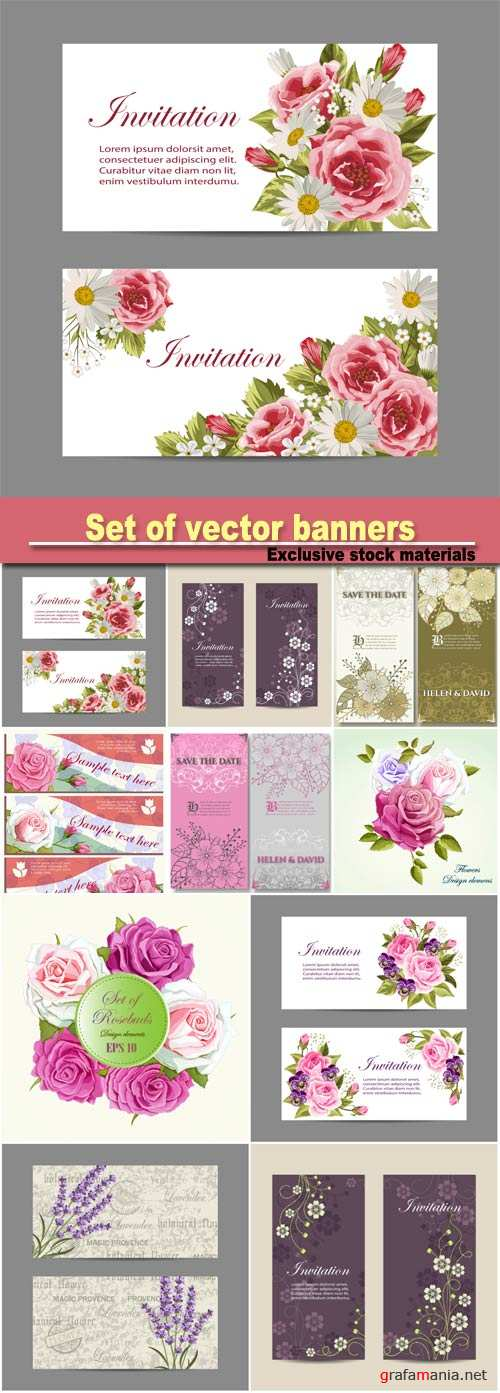Set of vector banners, beautiful compositions with pink roses and lavender flowers