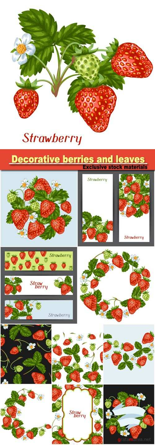 Frame with red strawberries, seamless pattern, decorative berries and leaves