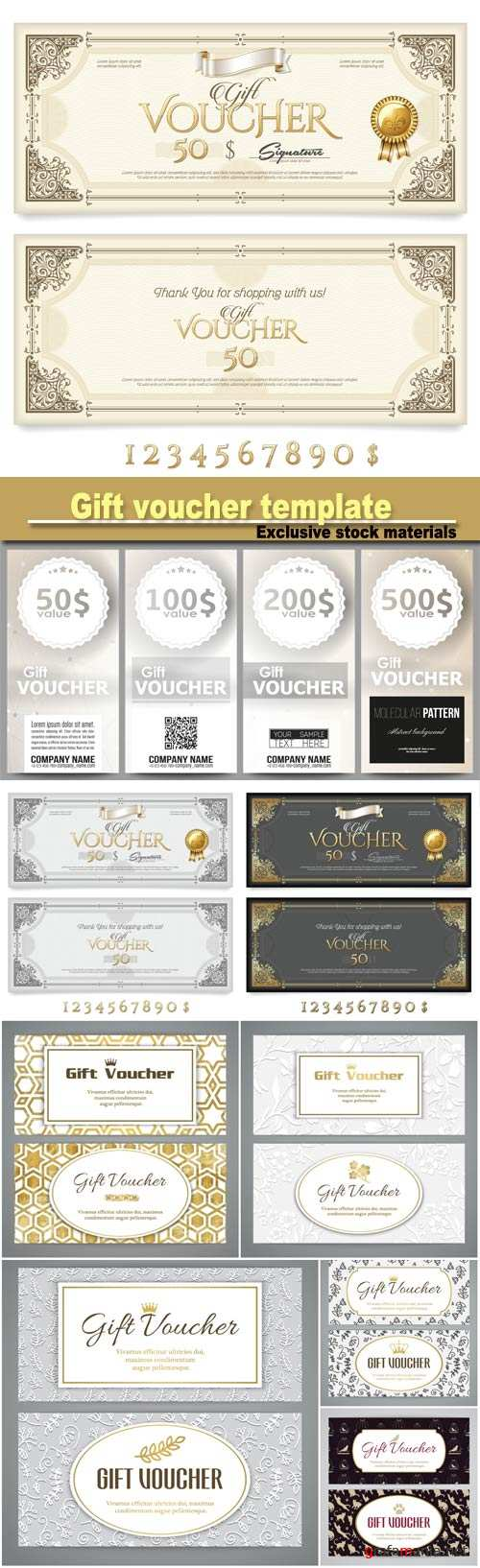 Gift voucher template with doodle pattern