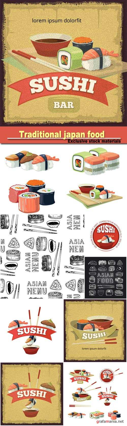 Vector vintage poster with emblem of sushi banners, traditional japan food