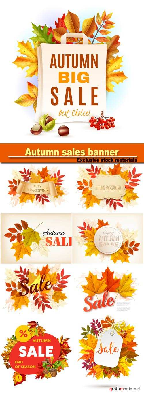 Autumn sales banner, autumn background with leaves