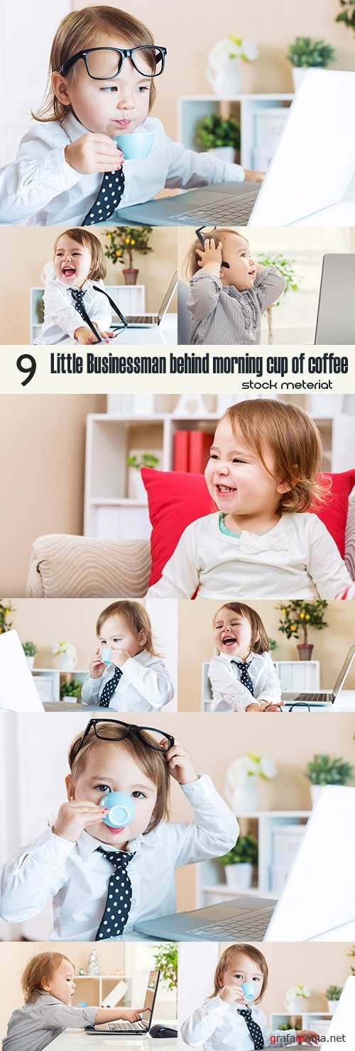 Little Businessman behind morning cup of coffee