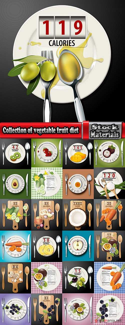 Collection of vegetable fruit diet vitamin vector image 25 EPS