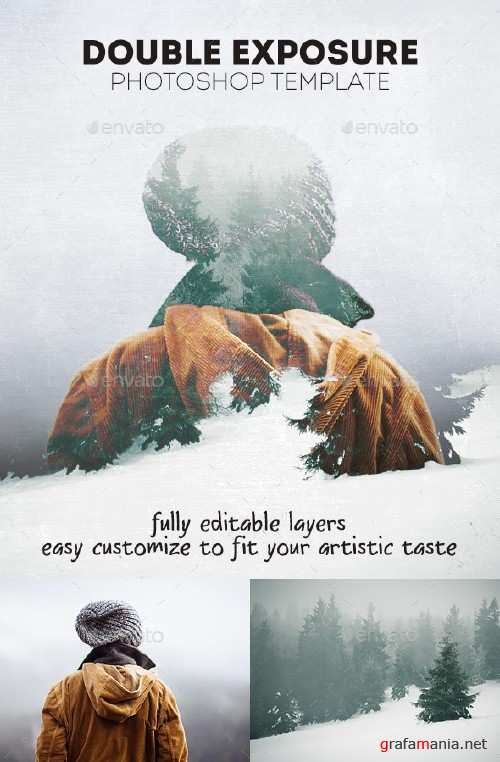 Double Exposure Photoshop Template - 17075830