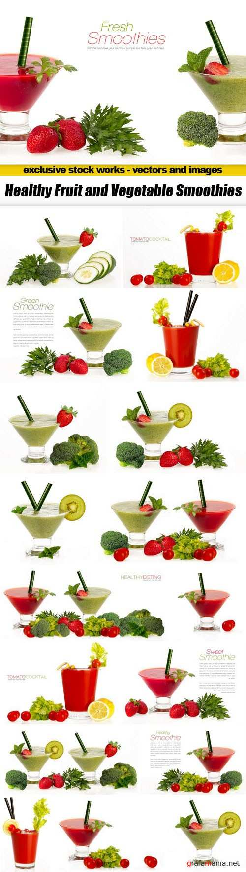 Healthy Fruit and Vegetable Smoothies - 18xUHQ JPEG