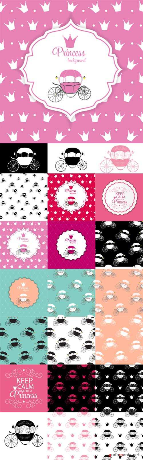 Vector Cinderella Fairytale Carriage and Seamless Patterns