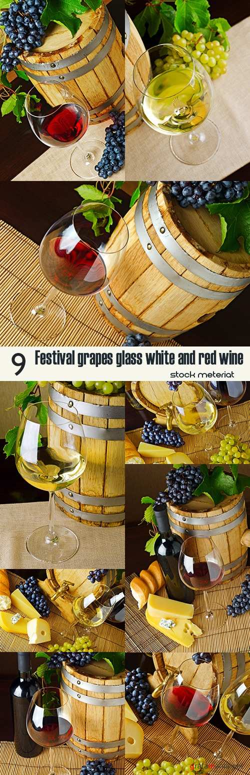 Festival grapes glass white and red wine