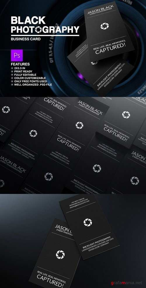 Black Photography Business Card - 592871