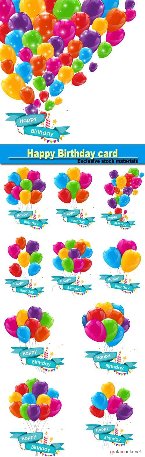 Happy Birthday card template with balloons, ribbon and candle
