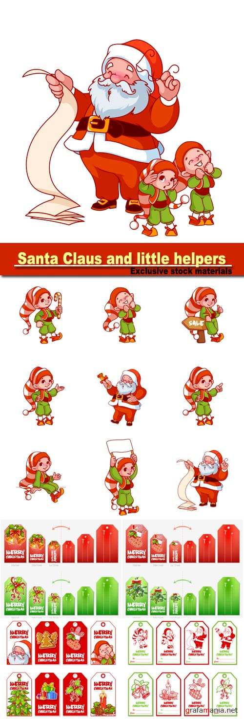 Santa Claus with long scroll and two little helpers