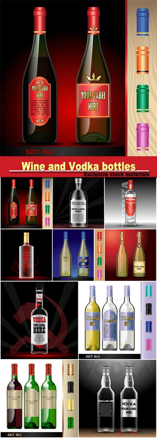 Vector wine bottles and vodka bottles mockup with your label here