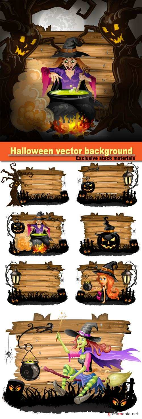 Halloween vector background, witch preparing a potion, Halloween pumpkin with cemetery over wood texture
