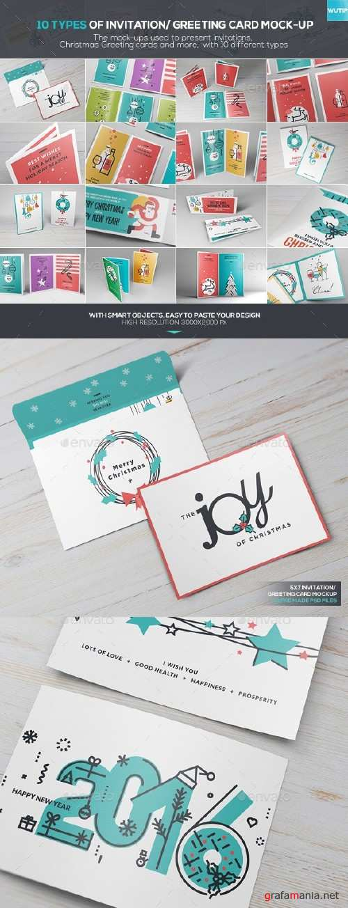 10 Types Of Invitation/ Greeting Card Mock-up - 13834152