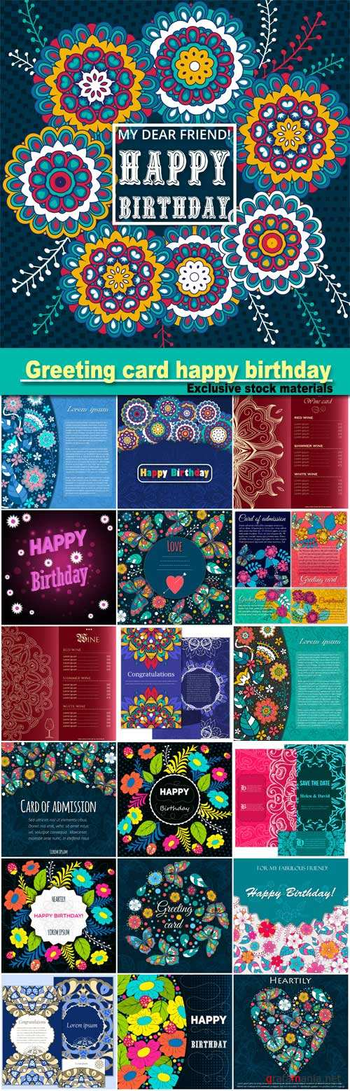 Template greeting card happy birthday, made of flowers, ladybirds, leaves