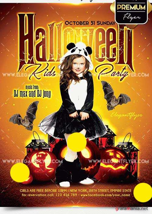 Halloween Kids Party Flyer PSD V4 Template + Facebook Cover