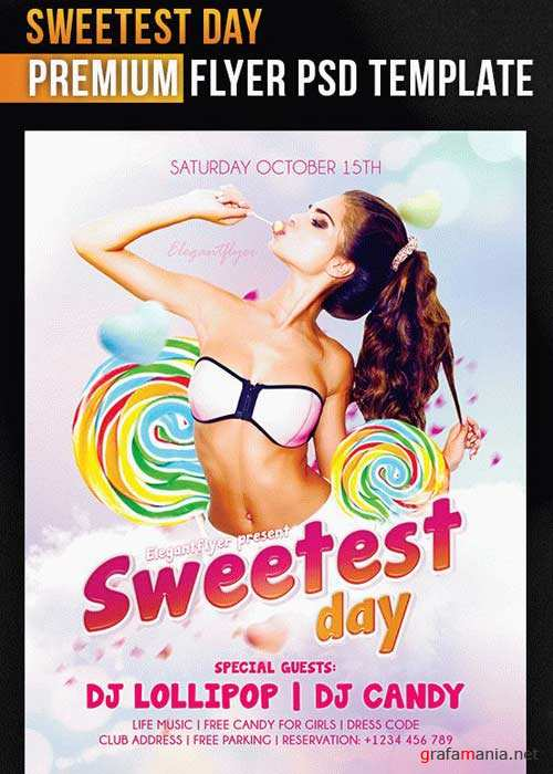 Sweetest Day Flyer PSD V7 Template + Facebook Cover