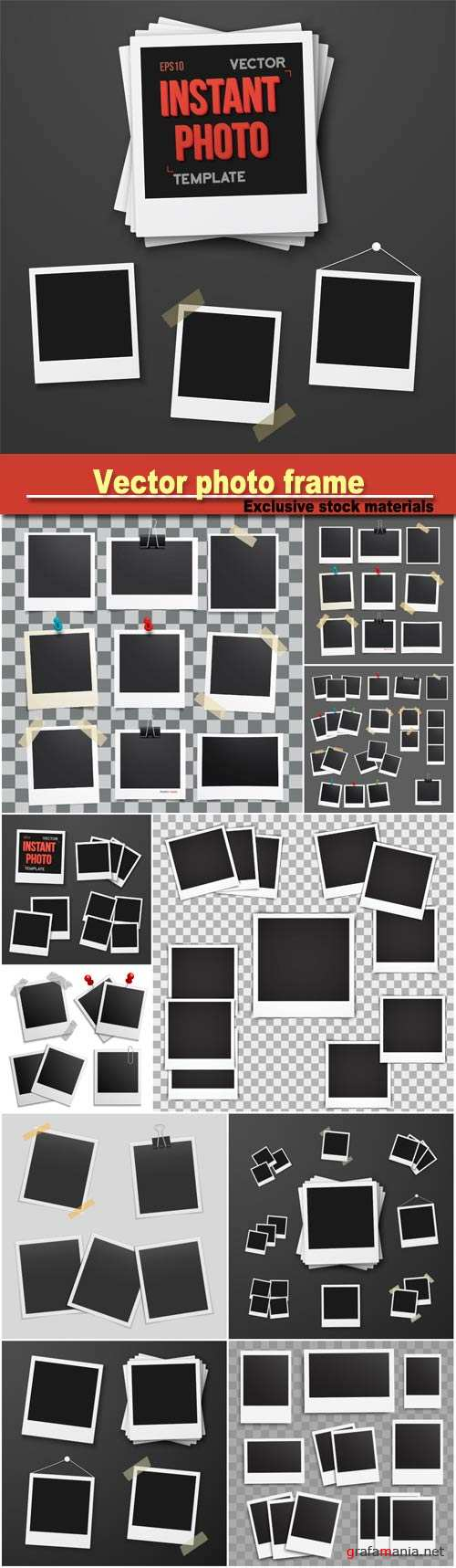 Vector photo frame, set of realistic paper photograph, template photo design
