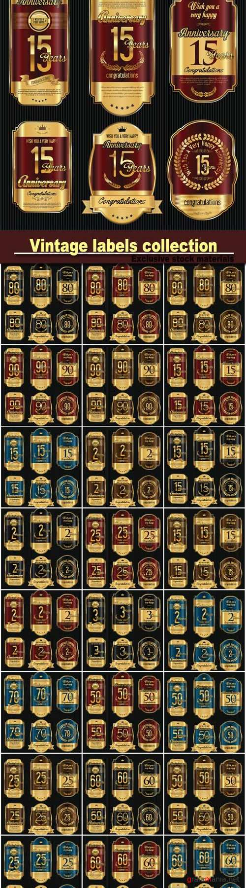 Anniversary golden vintage vector labels collection