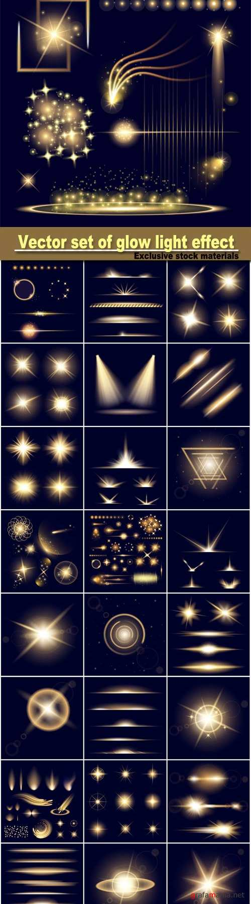 Vector set of glow light effect stars bursts with sparkles isolated on black background