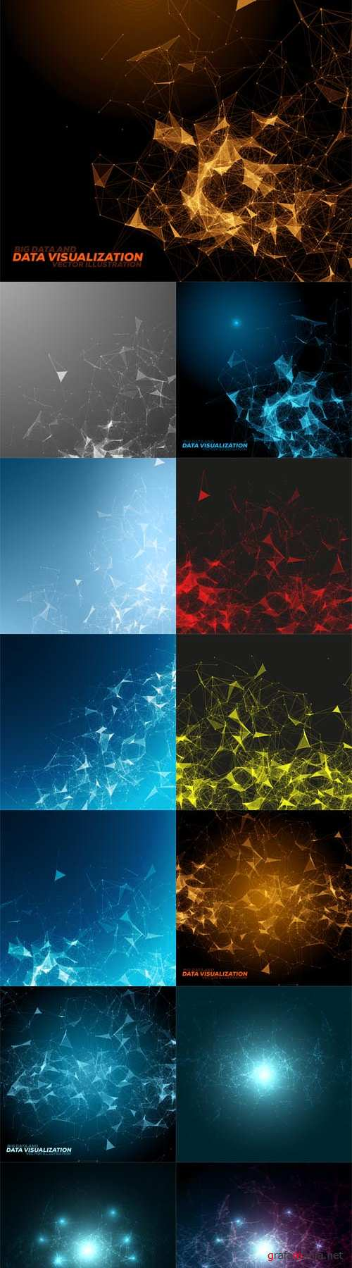 Vector Abstract Polygonal Space Background with Connecting Dots and Lines