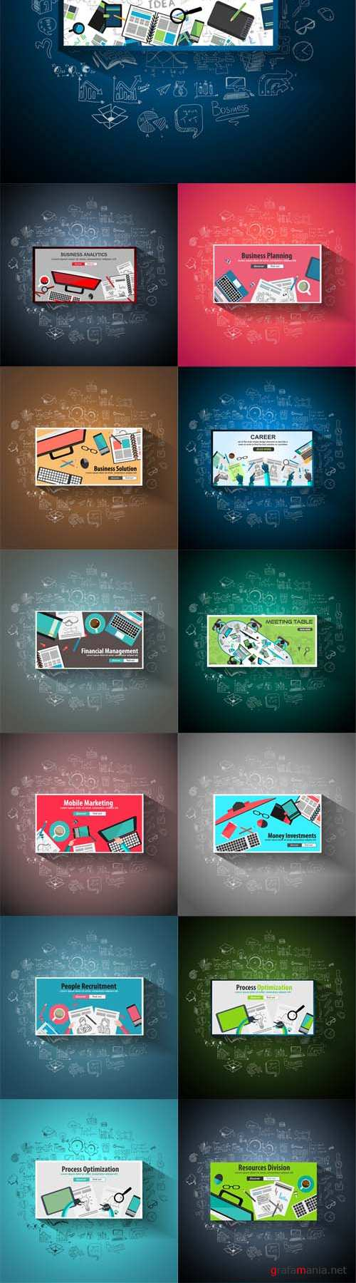 Vector Business Concept with Doodle Design Style