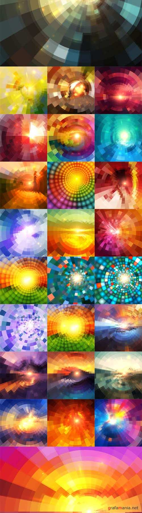 Vector Set - Abstract Shining Circle Mosaic Tunnel Backgrounds