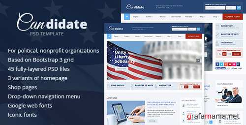 Candidate - Political / Nonprofit PSD Template 6547306