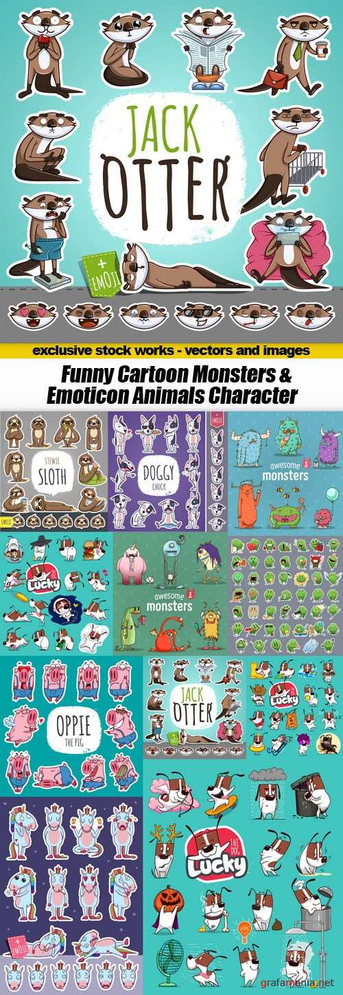 Funny Cartoon Monsters & Emoticon Animals Character - 11xEPS