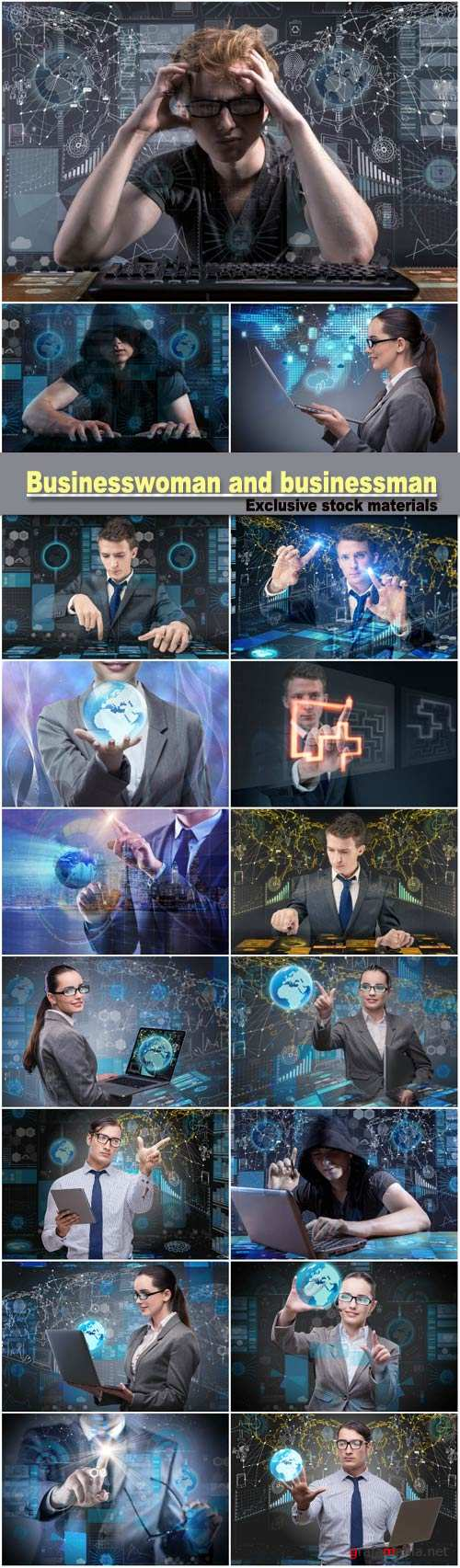 Young man and businesswoman in data management concept