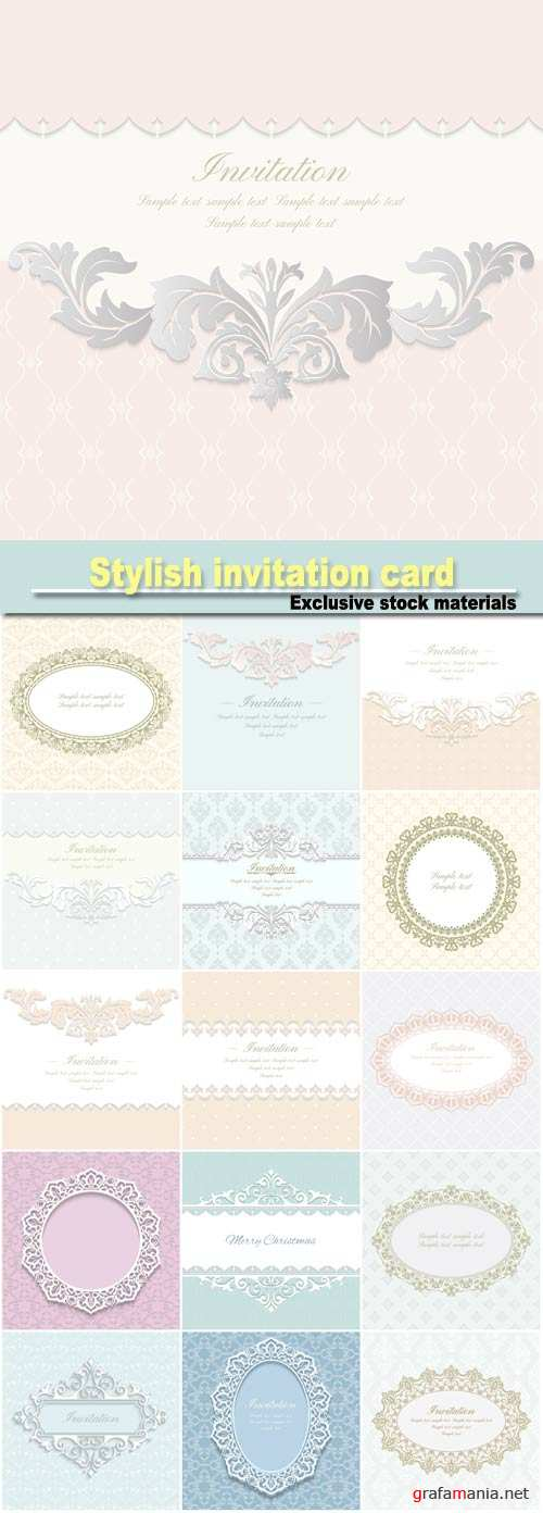 Baroque ornate frame with place for text, stylish invitation card