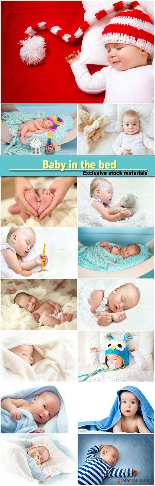 Baby in the bed, newborn sweet cute baby