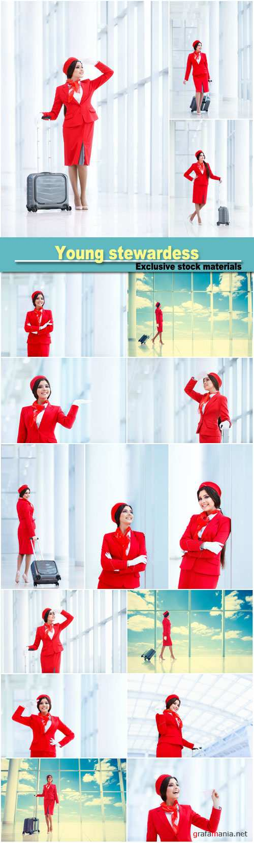 Young stewardess with a suitcase at airport