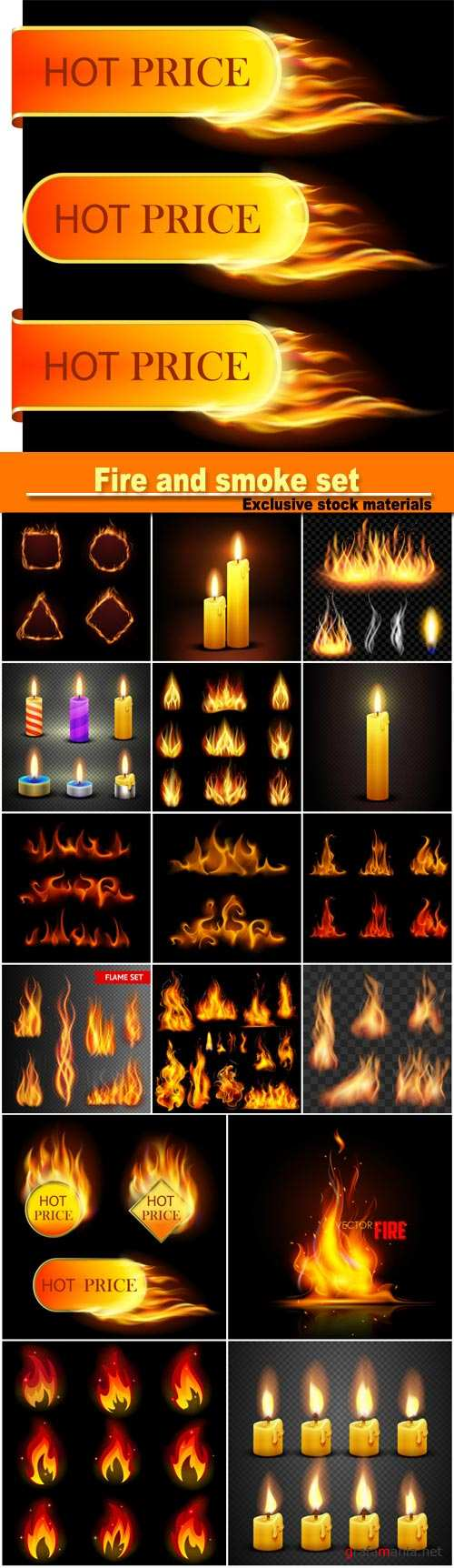 Fire and smoke set on translucent background, different candles