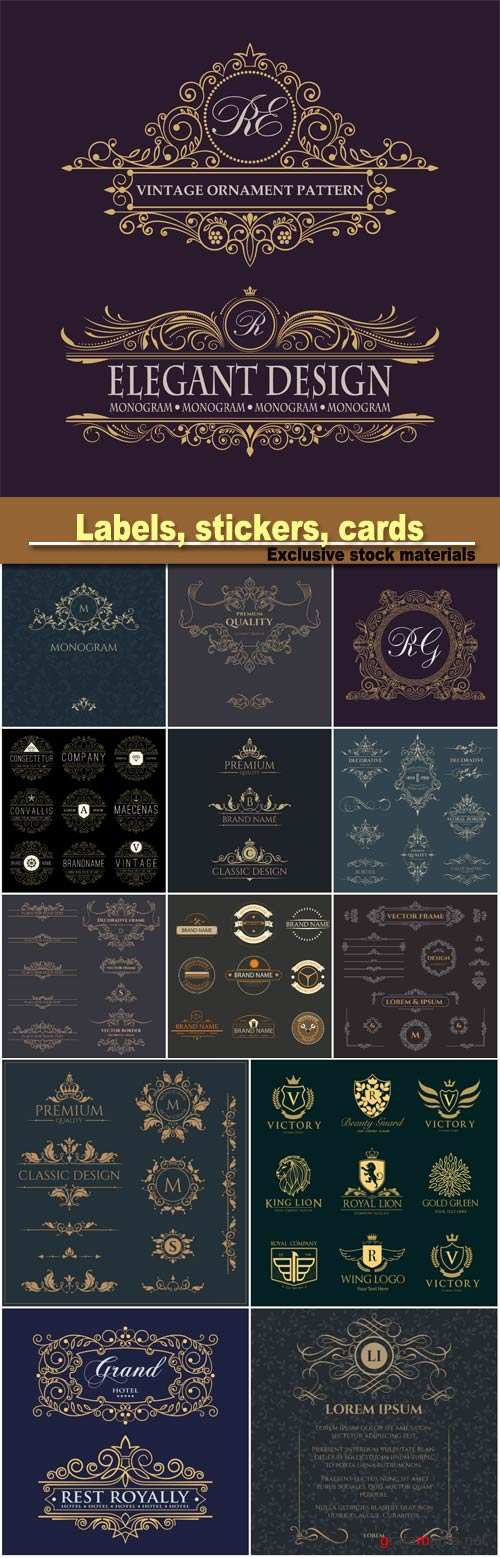 Decorative vector frame, template signage, logos, labels, stickers, cards