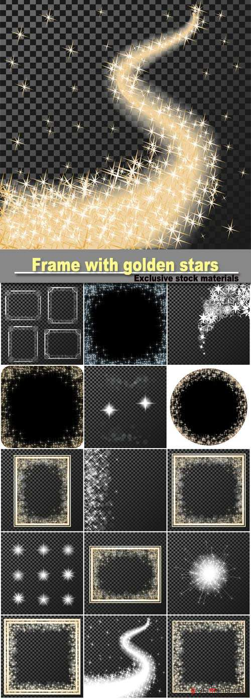 Vector rectangle frame with golden stars on the transparency background, sparkles golden symbols, star glitter, stellar flare, shining reflections